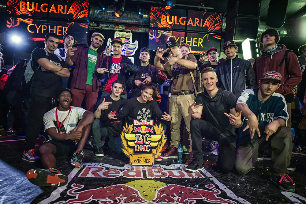 The participants pose for a photo after Red Bull BC One Bulgaria Cypher at Club Mixtape, in Sofia, Bulgaria, on April 4th, 2015. // Nika Kramer/Red Bull Content Pool // P-20150405-00046 // Usage for editorial use only // Please go to www.redbullcontentpool.com for further information. //