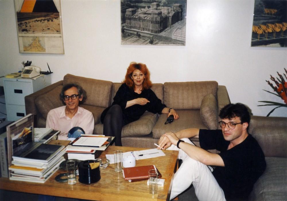Кристо, Жан-Клод, Лъчезар Бояджиев, Ню Йорк, май 1993. Снимка Ани Тодорчева